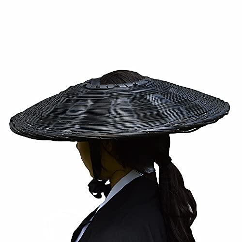 SUNNYHILL Samurai Hat Swordsman Cosplay Bamboo Japanese Hat Asian Hat Dia.18(Black)