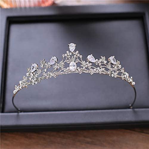 Changlesu Diadem Tiara Kupfer Zirkon Haarschmuck Mikrodichte Inlay Kristallblume Braut Diadem Hochzeit Tiara Strass Kronen(Silber)