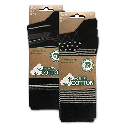 BIOBASICS Herren 100prozent BIO Baumwolle Socken Sensitiv Komfortb& Business-Socken ohne Gummi (6 Paar) Schwarz Muster 43-46