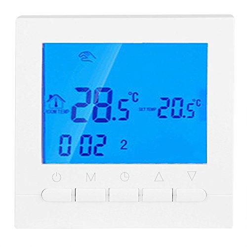 Fdit thermostaat vloerverwarming programmeerbaar digitaal groot LCD-scherm wifi afstandsbediening temperatuurregelaar thermostaat achtergrondverlichting met schroeven accessoires