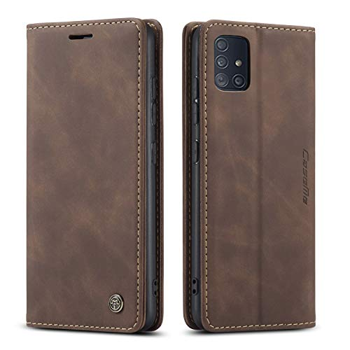 QLTYPRI Samsung Galaxy A50 case A50S A30S Case Vintage PU Leather Wallet Case TPU Bumper [Card Slots] [Hands-free Kickstand] [Magnetic Closure] Shockproof Flip Folio Case for Galaxy A50 - Coffee Brown