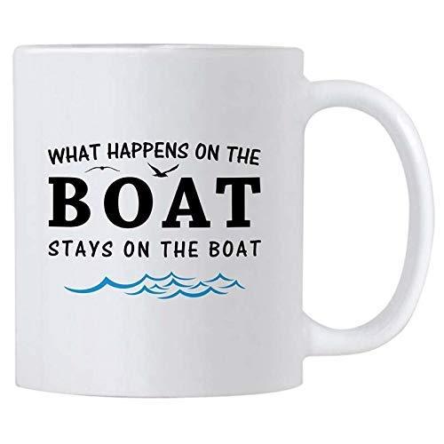 N\A Lo Que Sucede en el Barco se Queda navegando Taza de cerámica clásica portátil Taza de café Taza de Viaje