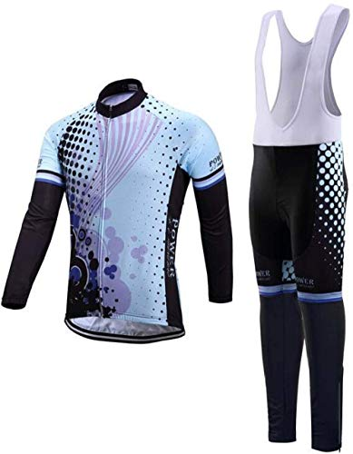 Men's Long Sleeve Jersey Set, Bike Jersey Team Set Outdoor Sports Suit Thermal Purple Stripes Long Sleeve Bib Pant with Gel Pad (Size : L)