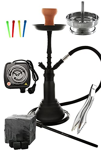 Kaya Neon SPN 480 Set Komplett mit E-Heater Shisha Kohle Kohlezange Einwegmundstücken Kaminaufsatz und Einlegesieb (Schwarz)