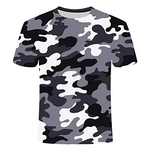 gaozhong Camiseta 3D al aire libre de secado rápido camiseta masculina táctica camuflaje manga larga cuello redondo deportes militar camiseta camuflaje 3D T-shirt-M