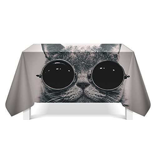 XGguo Tischtuch Leinendecke Leinen Tischdecke Abwaschbar, für Home Küche Dekoration Katze niedliche Haustierkunst