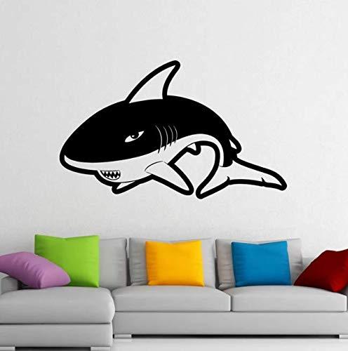 Etiqueta de la pared de tiburón calcomanía de vinilo depredador pegatina mar océano animales decoración interior del hogar 95 * 58 cm