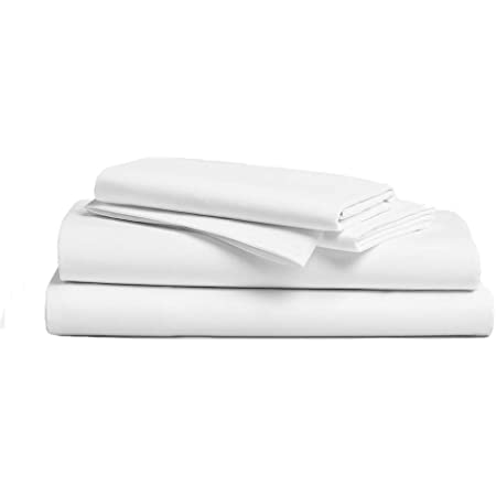 Hotel Sheets Direct 100% Bamboo Bed Sheet Set - Super Soft and Silky - Hypoallergenic - Eco-Friendly - 4 Piece Set - Fitted Sheet, Flat Sheet, 2 Standard Pillowcases- Silk-Like (Full / Double, White)