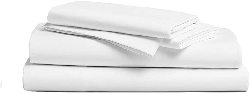 Hotel Sheets Direct 100 Bamboo 4 Piece Bed Sheet Set Hypoallergenic Eco Friendly Cooling Sheets Soft As Silk 4 Piece Set Fitted Sheet Flat Sheet 2 Pillowcases Queen White