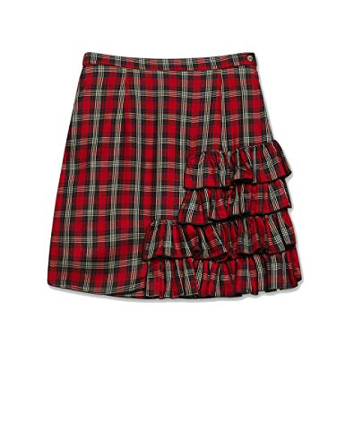 Motivos: Minigonna Tartan con Volantes Rojos 44 (Italian Size)