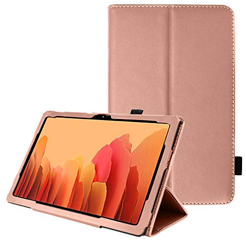 TECHGEAR Leather Case for Samsung Galaxy Tab A7 10.4' (SM-T500 / SM-T505) Premium PU Leather Slim Folio Stand Smart Case Cover with Hand Strap, Auto Sleep/Wake [Rose Gold]