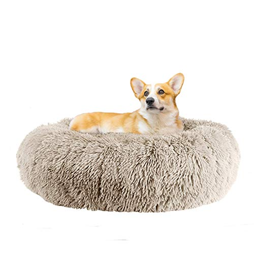 fireowl Calming Dog Bed Donut Cat Bed Anti Anxiety Dog Bed Cozy Pet Dog Bed Plush Cuddler Soft Puppy Sofa Cat Cushion Machine Washable Dog Sofa Bed (Ø60cm Outerdiameter, Beige Brown)