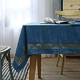 Mantel de Terciopelo de Doble Cara Azul de Lujo con Bordado Decoración del hogar Restaurante Cocina Fiesta Cubierta de Mesa Decoración 140x240cm Igual Que la Foto