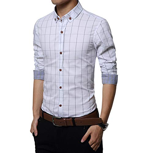 Camisa de Manga Larga Informal de Negocios a Cuadros para Hombre, Empalme a la Moda, Camisas de Gran tamaño con Botones para Trabajo de Oficina 4XL