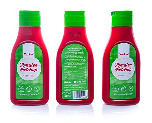 Xucker 500 ml Ketchup mit Xylit in PET-Flasche, 3er Pack (3 x 500 g)