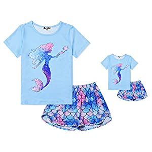 Jxstar Matching Girls&Dolls Pjs Summer Pajamas Sets for American Girl Clothes