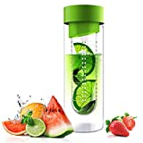 Asobu (SWG-11-2458) Flavor It 20 Once Glass Water Bottle With Fruit Infuser,  Green
