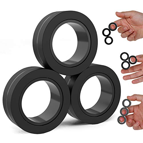 BunMo Fidget Toys - Magnetic Fidget Rings Fidget Toy. The Fidget Ring Spins, Connects, and Separates, Making Ideal Stress Toys and Sensory Toys. Fidget Magnets Make Ideal Stocking Stuffers.