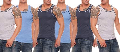 Cocain underwear 4, 5, 6 oder 12 Stück dunkelfarbige Herren-Unterhemden Vollachsel Achselhemden super weich Feinripp Gr. 5 (M) - 12 (6XL) (XXL, 6 Unterhemden Pack 5)