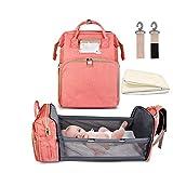 Cuna Plegable, Bolsa De Pañales Para Mochila Con Cambiador 5 en 1, Cunas Portátiles Bebé Niñas Niños Cuna Viaje Cama Infantil Nido Para Bebés Con Colchón Hombre Mujer (Pink)