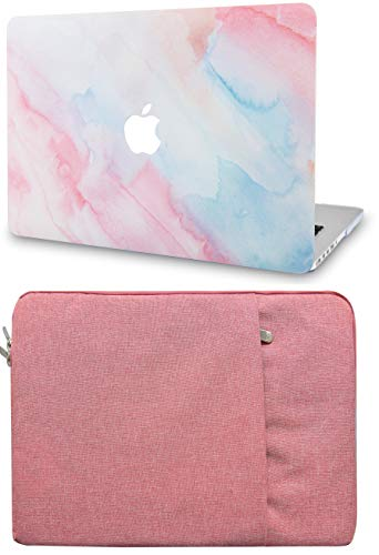 LuvCase 2 in 1 Bundle Hard Shell Case with Sleeve Compatible Newest MacBook Pro 13 inch A2159/A1989/A1706/A1708 w/wo Touch Bar, 2019/18/17/16 Release (Pale Pink Mist)