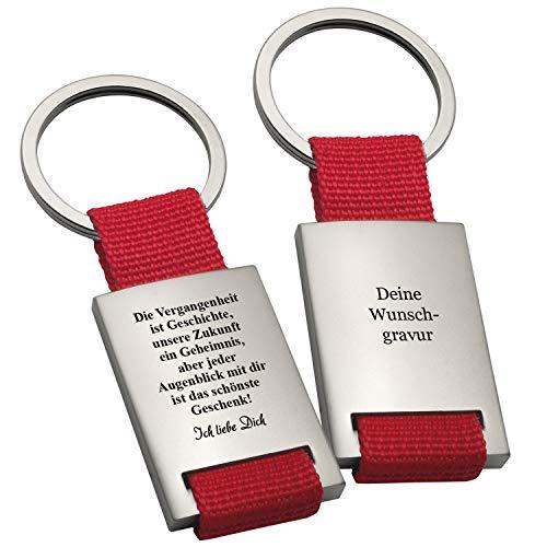 Geschenke 24 Schlüsselanhänger – Vergangenheitsspruch in Rot mit Wunschgravur: Schlüssel-Anhänger mit Gravur und romantischem Spruch – optional mit Wunschtext auf der Rückseite personalisiert