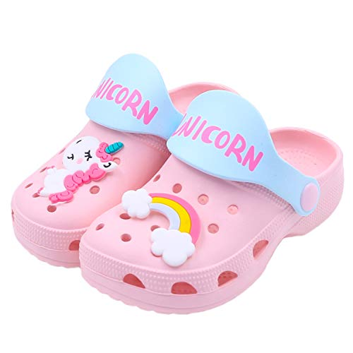 Toddlers Garden Clogs Slipper Kid's Cartoon Unicorn Sandals Clogs Shoes Slides Anti-Slip Lightweight Children Summer Sandals Beach Slipper (Pink Unicorn, Numeric_13)