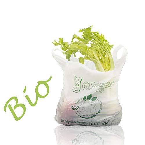 VIRSUS Palucart Shopper biodegradabili compostabili 27+7+7x50 da 500 Pezzi. Buste Spesa biodegradabili, Sacchetti per Raccolta Umido (27+7+7X50)