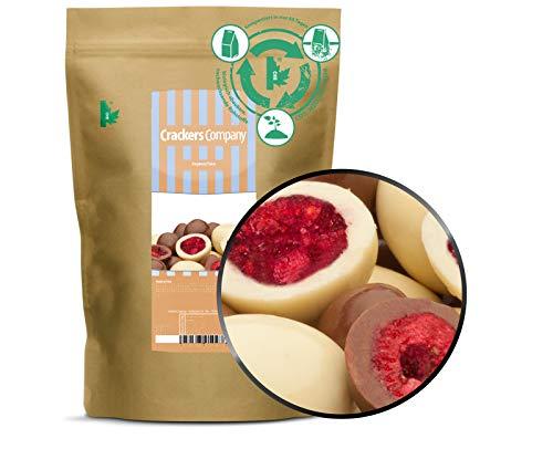 1 x 500g Gefriergetrocknete Himbeeren in feinster weisser und edler Vollmilchschokolade in Deutschland hergestellt Premium Qualität