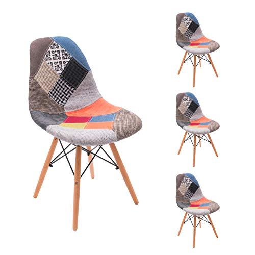 Homely - Silla de Comedor Cool tapizada en Tela Patchwork inspiración Silla Tower - 4 Unidades