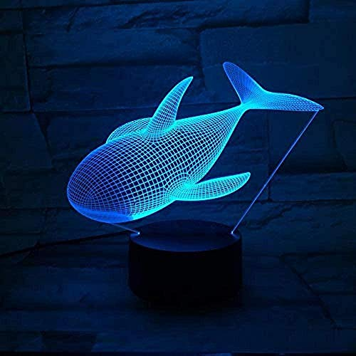 Whale 3D Night Light Illusion Lamp Suitable For Boys And Girls Bedroom Bar Living Room Birthday Christmas Gifts Usb Charging Touch Mode 7 Color Variations