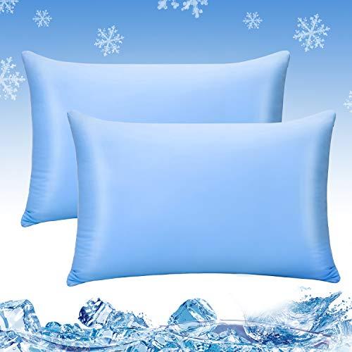 Luxear kühlender Kissenbezug 2er Set, Kissenhülle weichdünn atmungsaktiv mit Reißverschluss, seidige Kissenbezüge Haare/Haut schonend für Schlafzimmer Sofa Deko, 40 x 80 cm- Blau