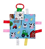 Baby Sensory Crinkle & Teething Square Lovey Toy with Closed Ribbon Tags for Increased Stimulation: 8'X8' (Farm Friends)