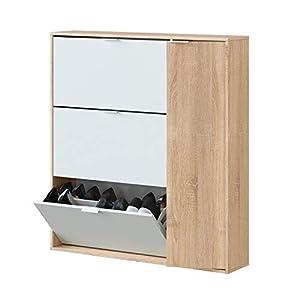 Habitdesign Mueble Zapatero 4 Puertas, Modelo Class, Acabado en Roble Canadian y Blanco Artik, Medidas: 106 cm (Largo) x 115 cm (Alto) x 22 cm (Fondo)