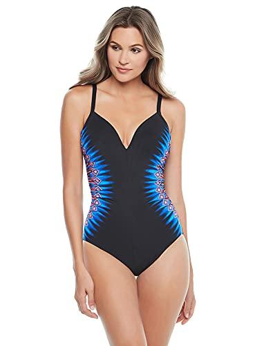 Miraclesuit Women's Swimwear Casablanca Temptation Tummy Control Underwire Bra One Piece Swimsuit, Blue, 8
