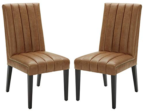 Amazon Brand – Stone & Beam Channel-Back Leather Dining Chairs, 40'H, Cognac, Set of 2