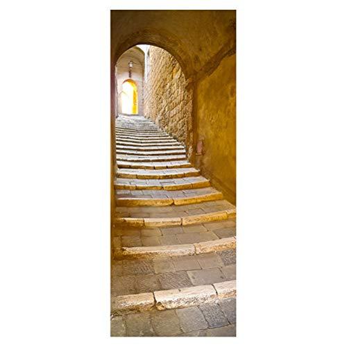 2 unids Divertido 3D Escaleras de Piedra Puerta Pegatinas Dormitorio Sala de Estar Murales de la Puerta Pegatinas de Arte Decorativo Calcomanías de PVC Autoadhesiva Etiqueta de La Pared