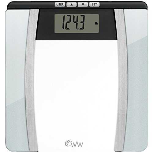 WW Scales by Conair Body Analysis Glass Bathroom Scale  Measures Body Fat Body Water BMI Bone Mass 4 User Memory 400 lb capacity Black / Chrome