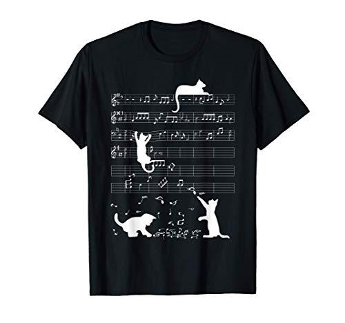 Niedliche Katze Kätzchen Musiknote Notenschlüssel Musiker T-Shirt