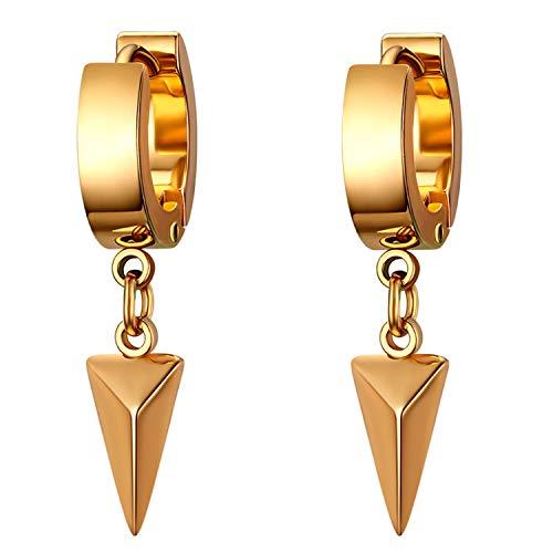 Flongo Orecchini hip hop orecchini a cerchio per uomo donna, Piccoli orecchini in acciaio inossidabile, Orecchini triangoli oro, 1 coppia