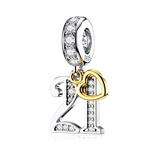 JIAYIQI 21th Birthday Charm for Pandora Charm Bracelets, Happy Birthday Charms for Bracelet and Necklace,925 Sterling Silver Bead Openwork Charms for Women Girls Gift