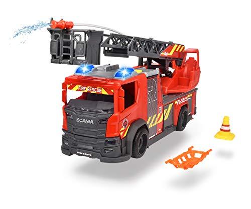 Dickie Toys 203716017 Scania Drehleiter Feuerwehr, Wasserspritzfunktion, Rosenbauer, Licht & Sound, inkl. Batterien, mit ausziehbarer Drehleiter & Standbeine, 25 cm, rot