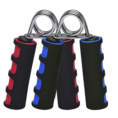 2 pinzas manuales de mano para entrenamiento de manos y antebrazos de 4,5 mm de longitud. Muelles robustos y resistentes de acero. Mango ergonómico de esponja bicolor rojo-negro y azul-negro.