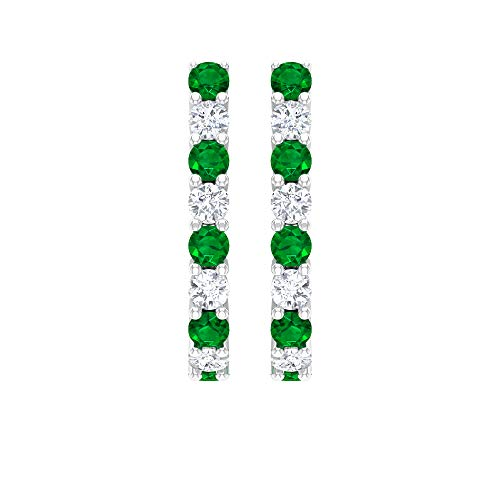 Pendientes de oro de 14 ct con certificado IGI, diamantes esmeralda redondos HI-SI, claridad de color, medio aro, para mujertornillo hacia atrás