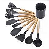 Juego de utensilios de cocina de silicona,resistente al calor utensilios de cocina de silicona con mango de madera, utensilios de cocina de silicona antiadherente Set de herramientas(9 piezas/11 pieza