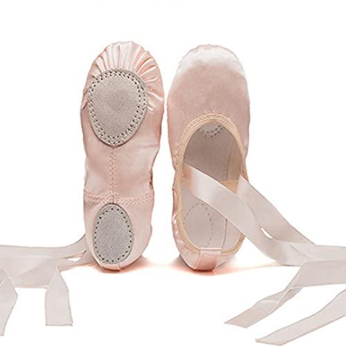 AGYE Zapatillas de Ballet para Niñas,Zapatillas de Baile de Satén Zapatos de Yoga Gimnásticos Suela Partida Plana para Niños y Adultos,Pink-40
