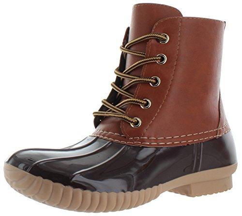AXNY Damen Schnürschuhe zweifarbig Combat Style Wade Regenstiefel, Braun (braun), 38.5 EU