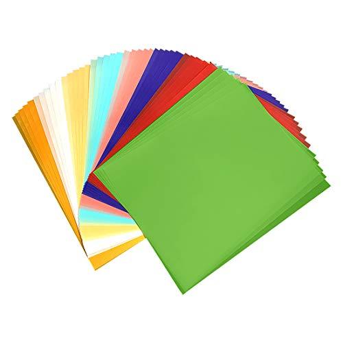 Papel Transparente, Papel Calco Bricolaje, 40 Pcs a4 Láminas de Celofán de Colores, Papel Transparente para Manualidades Infantiles, Diseños Papel para Esbozo y Para Recortar,Papel para Dibujar.
