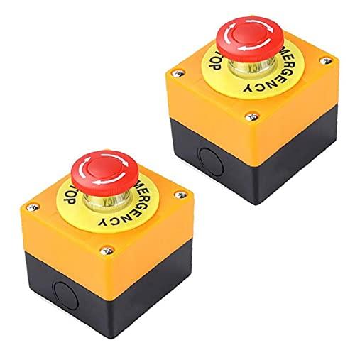 Runfon Botón de Parada de Emergencia de 22 mm de Signo Rojo de Setas Push Switch AC 660V 10A 2pcs Auto Bloqueo Parada de la estación Box