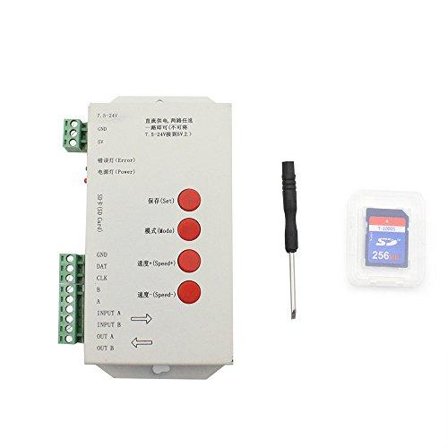 VIPMOON T-1000S Controlador LED con tarjeta SD DC 7.5-24V, Compatible con WS2812B APA102C SK6812 WS2811 WS2801 Led Strip 2048 píxeles Direccionable Controlador LED Strip programable